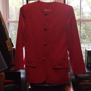 Kasper Red Skirt Suit Size 8